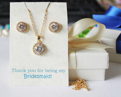 CZ bridesmaids set, Gold bridesmaids necklace earrings SET, bridesmaids set, Cubic Zirconia, Gold Bridesmaids gift, rose gold jewelry gift
