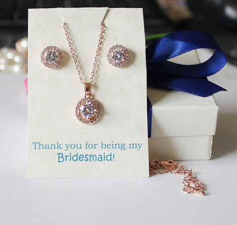 Rose gold bridesmaids set, bridesmaids gift, Bridesmaids necklace, Bridesmaids bracelet and earrings set, Cubic Zirconia, Gold bridal set