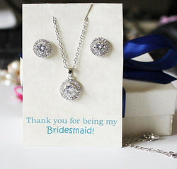 CZ bridesmaids set, bridesmaids necklace and earrings, Silver bridesmaids set, Cubic Zirconia set, Bridal party gift set, rose gold CZ gifts
