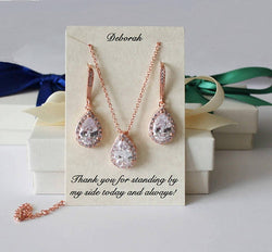 Bridesmaids Wedding Set, Tear drop dangle CZ earrings with Beautiful matching Cubic Zirconia Necklace set.