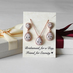 Double Tear Drop CZ Necklace Earrings Set, Bridesmaids Gift, Rose Gold, White Gold, Yellow Gold