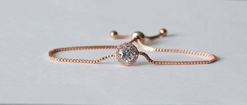 Bridesmaids bracelet, Cubic Zirconia bracelet, Bridesmaids gifts, Bridal party jewelry, Wedding Silver bracelet, Rose gold crystal bracelet