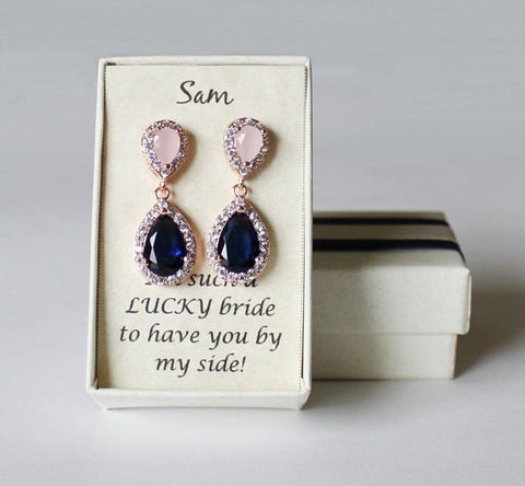 Item# S011 - Blush pink navy blue Double tear drop CZ earrings
