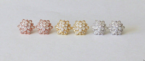 Item# S030 - Bridal CZ Stud Cluster Earrings, Cubic Zirconia earrings,