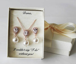 Bridesmaids gifts, Pearl and CZ jewelry, Bridesmaid necklace earrings SET, Tear drop cubic zirconia gift, Mothers gift, Bridal party jewelry