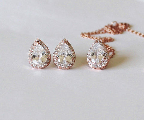 Gold Bridesmaids gift set, Tear drop CZ necklace earrings SET, Cubic Zirconia gifts, Bridal jewelry set, Pear CZ necklace and earrings.
