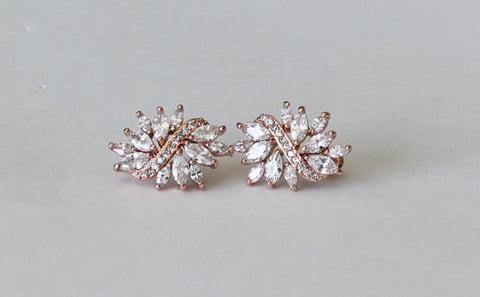 Item# S031 - Bridal Crystal Cluster Stud Earrings, Cubic Zirconia Bridal Earrings,