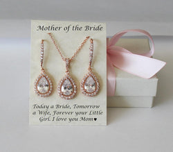 Mother of the groom set, Mother of the bride set, Bridal necklace and earrings set, Wedding gift set, Cubic Zirconia set, Bridesmaids set