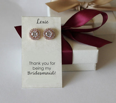 Item# S020 - 10mm Cubic Zirconia earring studs, Bridesmaids gifts