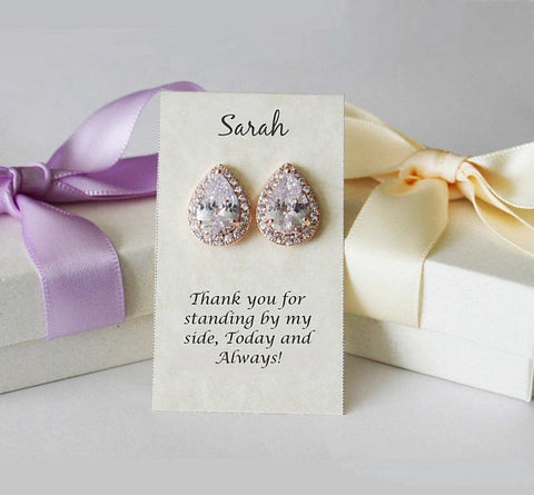 Item# S001 - AAA Tear drop CZ stud earrings, Cubic Zirconia studs, Bridesmaid Earrings