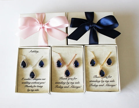 Wedding jewelry set, Bridesmaids gifts, Navy blue set, CZ necklace earrings, Blue bridal jewelry, Bridesmaids earrings, Bridesmaid necklace