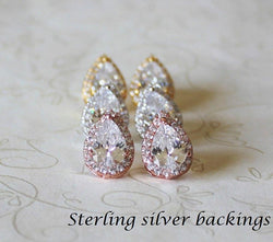 Item# S003 - Tear Drop Cubic Zirconia stud earrings, Sterling Silver Post