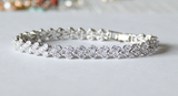White Gold Plated Cubic Zirconia bracelet, Bridal bracelet, Bridesmaids bracelet, Bridal party jewelry, Bridal jewelry,  Wedding CZ crystal bracelet