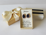 Item# S005 - Sapphire Navy Blue CZ Earrings Stud, 11x16mm