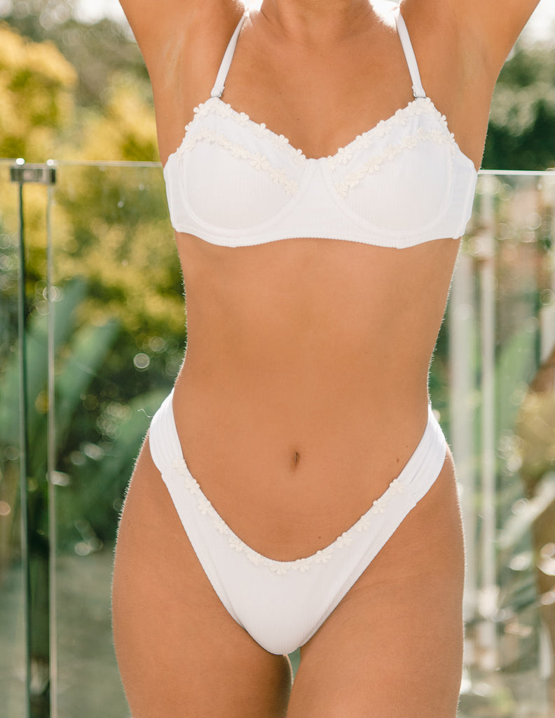 Poolside Top - Cream Rib