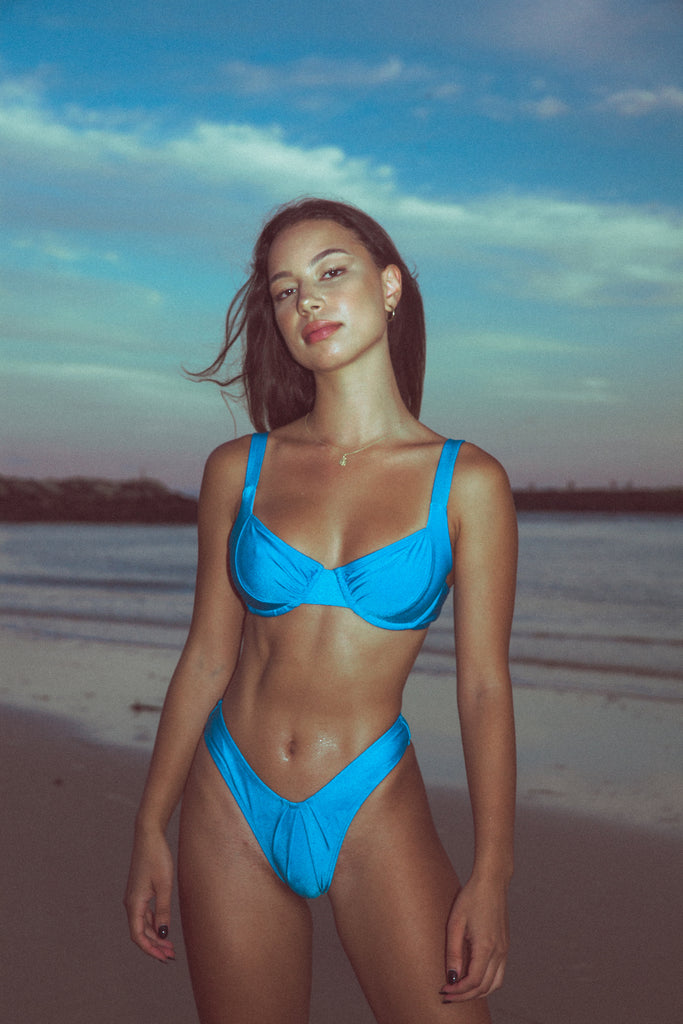 Flash Bikini Top - Deadstock Azure Blue (MTO)