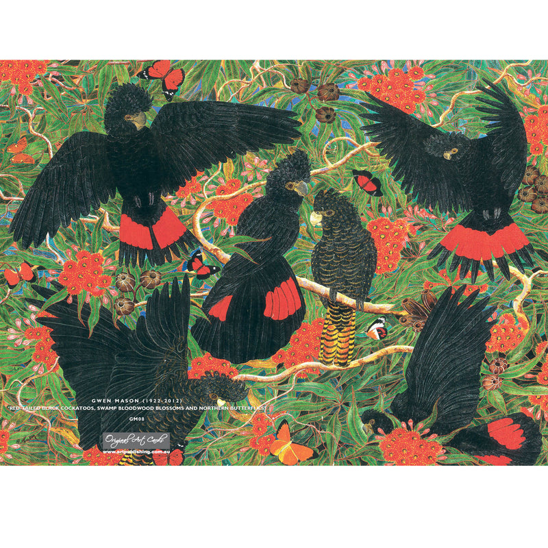 GM08 Red-Tailed Black Cockatoos And Bloodwood Blossom