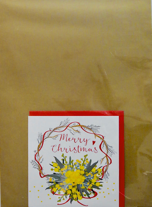 LKC11G_PACK Merry Christmas Notecard + Gold Kraft Gift Wrap