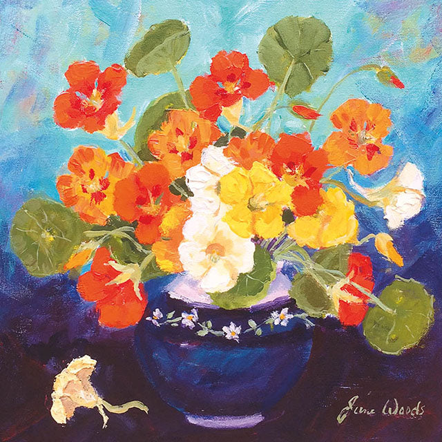 JSW27G Nasturtiums In Blue Bowl