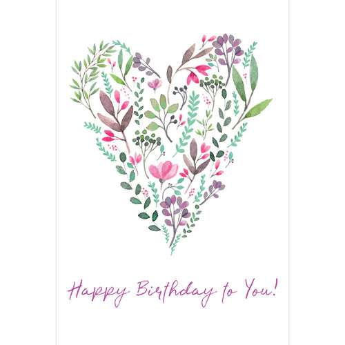 LKC05 Happy Birthday Floral Heart
