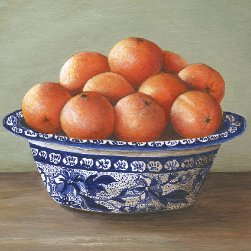 PAG01G Oranges, Blue Bowl