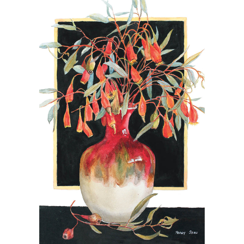 PS108 Red-Flowering Fuchsia Gum In Pottery Vase