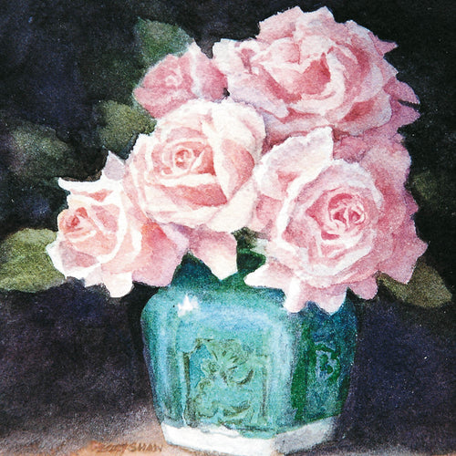 PS37G Pink Roses In Ginger Jar