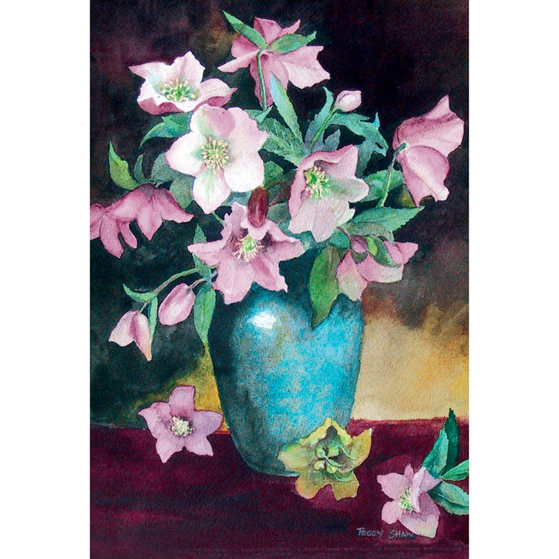 PS44 Hellebores in Green Vase