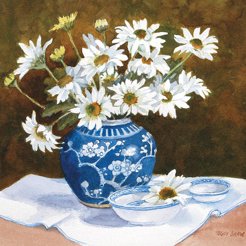 PS52G White Daisies, Blue Ginger Jar