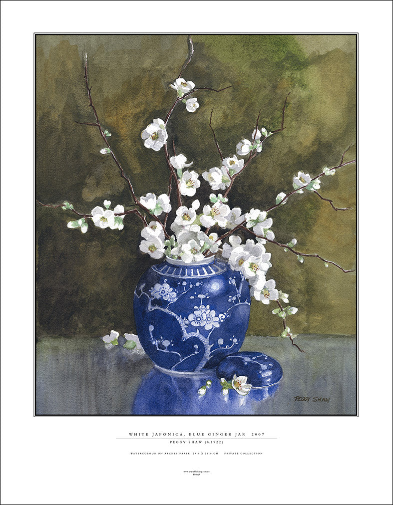 PS69AP White Japonica In Blue Ginger Jar