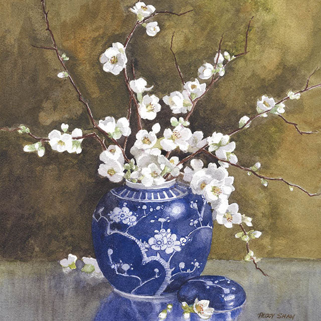 PS69G White Japonica, Blue Ginger Jar