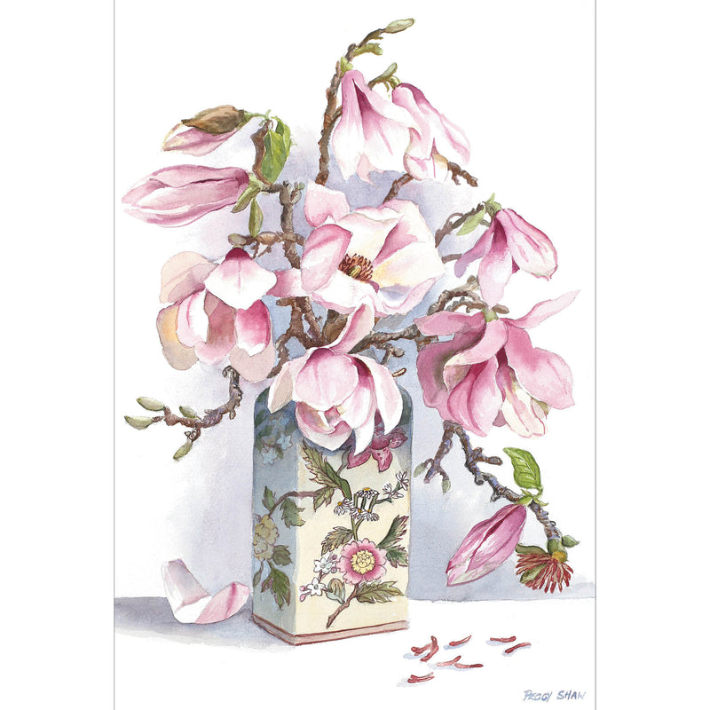 PS90 Pale Pink Magnolias, Chinese Vase