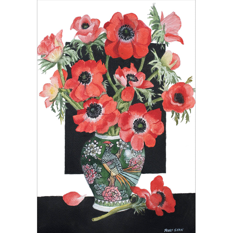 PS92 Red Anemones, Peacock Vase