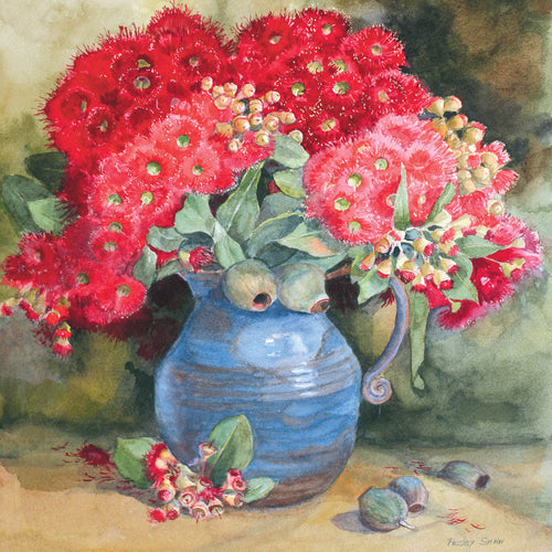 PS99G Red Eucalyptus Blossom, Blue Jug