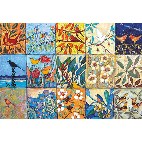 TJ30 Patchwork Of Birds And Flowers