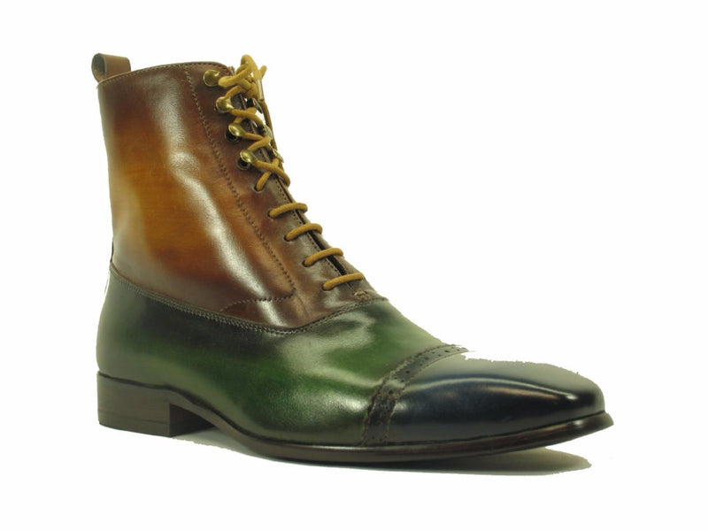 Lace-up Zip Boots Navy/Olive/Cognac