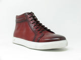 KB670-13 High Top Side Zipper Leather Sneaker