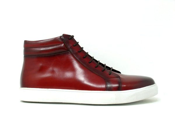 High Top Side Zipper Leather Sneaker