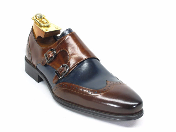 KS099-303T Wingtip Double Monk Straps-Brown/Navy