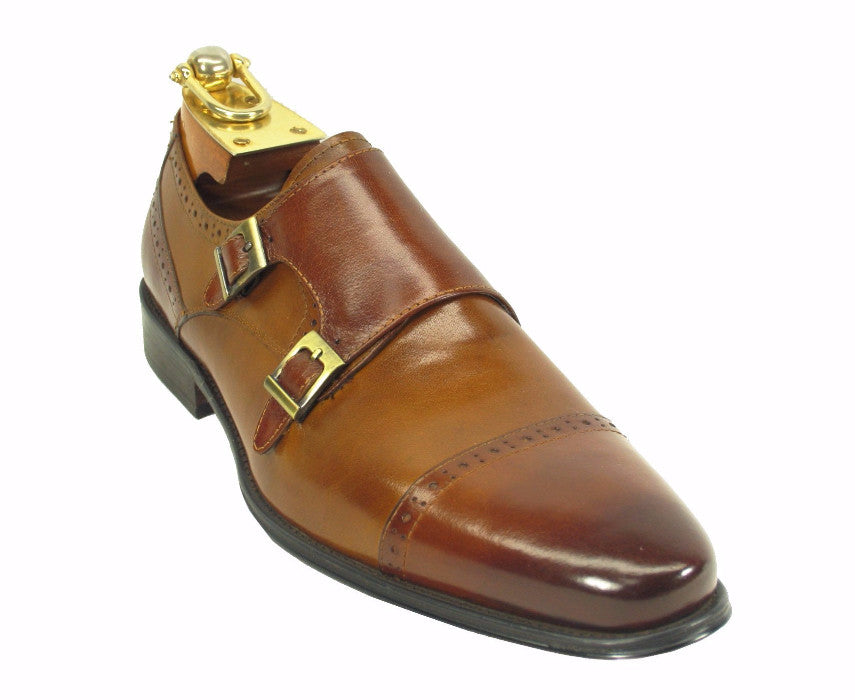KS099-307T Two Tone Burnished Monk Strap-Brown/Cognac