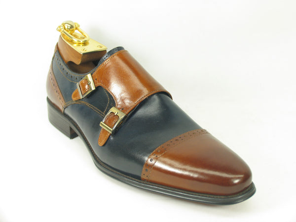 Two Tone Burnished Monk Strap-Brown/Cognac
