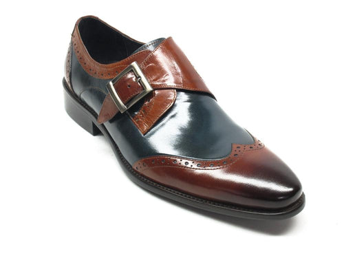 KS099-710 Wingtip Monk Strap Loafer-Brown/Navy