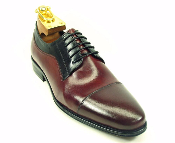 KS099-721 Cap toe Leather Oxford-Burgundy/Black