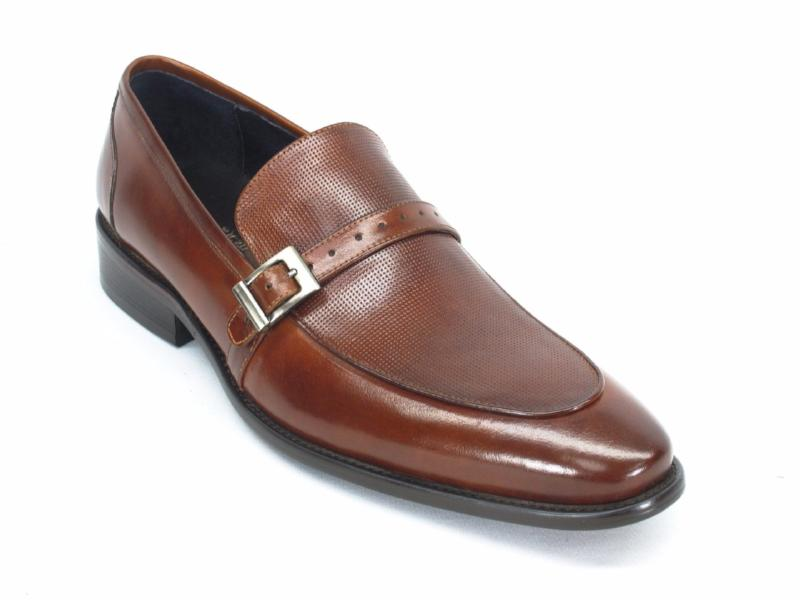 Buckle Perforated Loafer-Brown