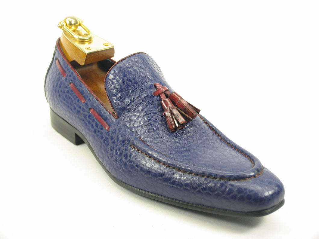 KS1377-05, Contrast Tassel Loafer-Navy/Red