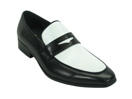 KS2240-12T Carrucci Two Tone Penny Loafers-Black/White