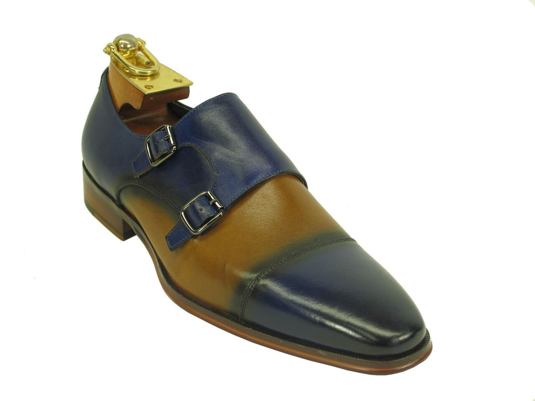 KS261-03 Two Tone Monk Strap Loafer-Blue/Tan