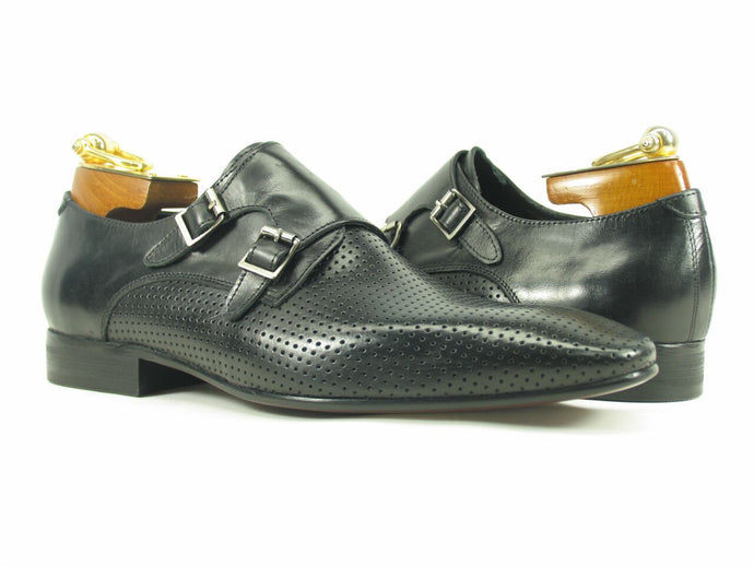 KS308-06 Perforated Double Monk Strap-Black