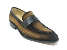 KS478-119S Suede Penny Loafer w/ Leather Trim