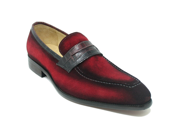 Suede Penny Loafer w/ Leather Trim